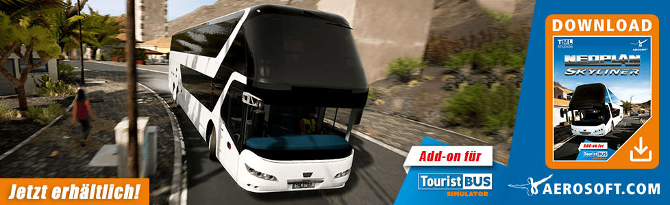 Aerosoft | Tourist Bus [TBS] AddOn Neoplan Skyliner jetzt erhältlich!